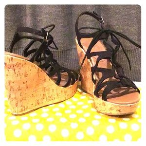 Black Mossimo Lace Up Wedges Size 9